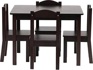 5 Piece Espresso Kids Children's Toddler Wood Activity Table Chairs Playroom Living Room Brown Gift for Sale in Toledo, OH