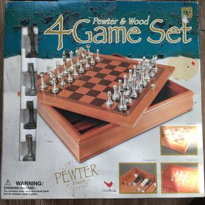 Pewter & Wood 4 Game Set (Chess, Checkers, Backgammon, Tic Tac Toe) for Sale in Lake Jackson, TX