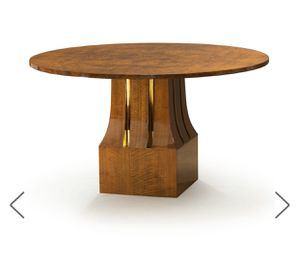 Custom designed, round dining, game table with brass inlay for Sale in Los Angeles, CA