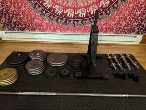 Standard weights, bar and weight tree for Sale in Bellevue, WA