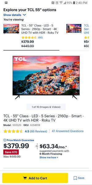 55in TCL SMART 4k UHD ROKU TV for Sale in Alafaya, FL