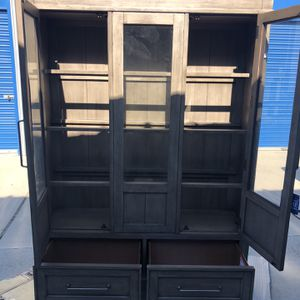 Brand New Floor Model Hutch Cabinet, Rustic Grey Color, Retails For Over $1100 for Sale in Fowler, CA