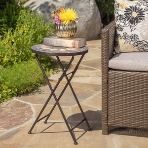 Beige and Black, Outdoor Iron Frame with Stone Side Table for Sale in Las Vegas, NV