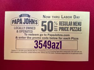 Free Coupon! Half price pizza's! for Sale in Phoenix, AZ