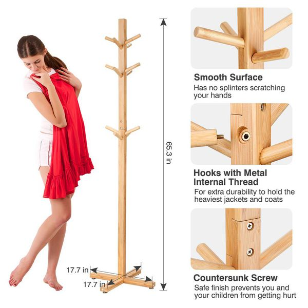 Bamboo Wooden Coat Rack and Hook