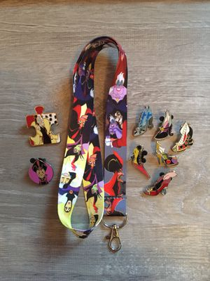Disney Villains lanyard with 8 pins for Sale in Orlando, FL