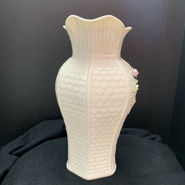 Vintage Belleek Millennium Collection Pitcher Vase w/Raised Flowers 48oz