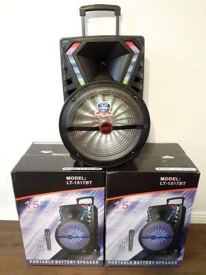 BLUETOOTH 15 INCH LOUD SPEAKER KAREOKE WIRELLES MICROPHONE $100. NEW for Sale in Bloomington, CA