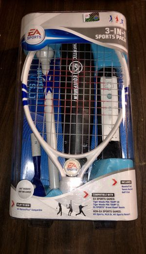 EA Sports 3-in-1 sports kit for Wii. Includes baseball bat, tennis racket, and golf club. Also compatible with non-EA SPORTS games. for Sale in Chicago, IL