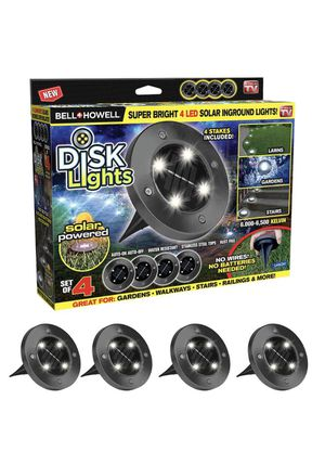 Bell + Howell Solar Powered Gunmetal Stainless Steel Outdoor Integrated LED Super Bright In-Ground Path Disk Light (4 per Box) for Sale in Libertyville, IL