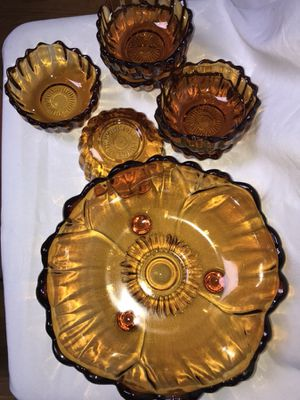 Collectible Brown Glass Salad Bowl Set for Sale in Washington, DC
