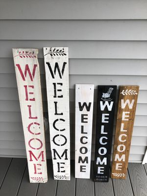 Hand Painted Vertical Porch Signs and Flower Pot Holders for Sale in Pepperell, MA