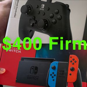 Neon Nintendo Switch Bundle with Black Wired Controller for Sale in Bellflower, CA