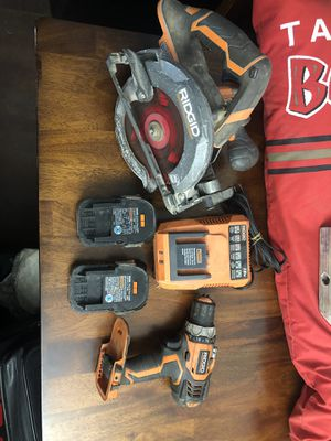 Rigid cordless circular saw and impact drill w/2 batteries and charger for Sale in Tampa, FL