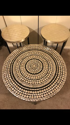 """3 pieces table set coffee mosaic 31"""" round 18"""" hight table 2 end table 22"""" round 20"""" hight pick up in Gaithersburg Maryland all sales final for Sale in Gaithersburg, MD"""
