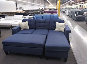 Dark blue sectional sofa includes ottoman for Sale in Los Angeles, CA