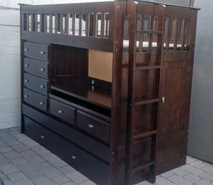 Gorgeous New Solid Wood Twin Bed w/ Slide Out Twin Trundle Bed, Dresser, Desk & Storage for Sale in Phoenix, AZ