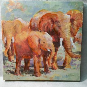 Elephant Painting, Oil On Print for Sale in Northville, MI