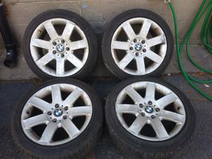 17 inch BMW alloy wheels and tires 5 on 120mm for Sale in Montebello, CA