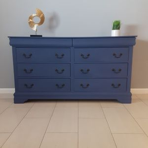 Beautiful wooden dresser , in a blue color, original handles, working well, unique desig, distress paint, clean, pick up location west Hills for Sale in West Hills, CA
