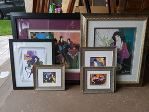 6 Tarkay custom matted and framed prints. for Sale in Coconut Creek, FL