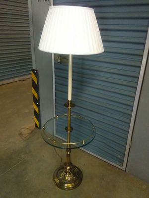 Real brass and glass floor lamp for Sale in Henrico, VA
