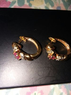 Gold over Sterling ruby and diamond earrings for Sale in Monroe, MI