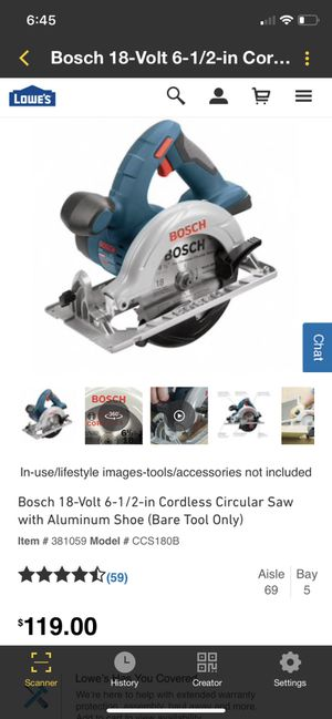 Bosch 18 volt 6-1/2-in Tool only. $70 OBO for Sale in Bristol, PA