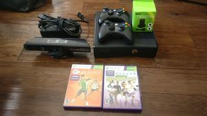 Xbox 360 with kinect, 2 controllers, 2 kinect game for Sale in Herndon, VA