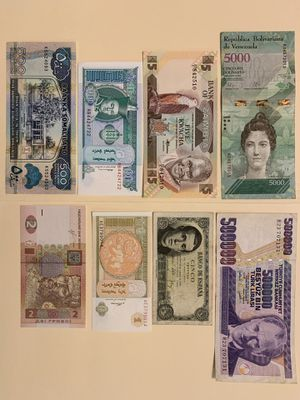 8 PCS World Mix Banknote Set for $12 Currency Money Venezuela Turkey (Mustafa Kemal Ataturk) Zambia Spain (1951) Mongolia Ukraine Somaliland for Sale in Atlanta, GA