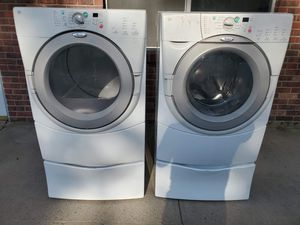 Whirlpool washer and electric dryer set good working condition for Sale in Denver, CO