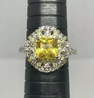 PRINCESS CUT CITRINE WHITE SAPPHIRE .925 SILVER SIZE 7 for Sale in Kansas City, MO
