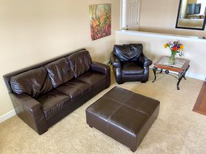 Brown leather sofa and chair with ottoman for Sale in East Wenatchee, WA