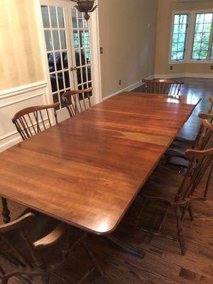 Antique Solid Wood Drop Leaf Table with 3 Leaves and 6 Chairs for Sale in Fairlawn, OH