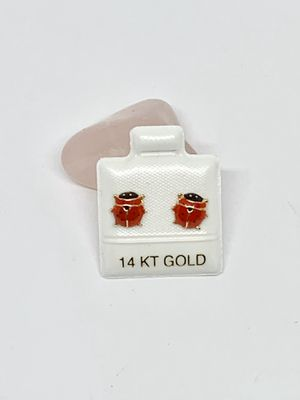 Real 14k Gold Ladybug Earrings Studs Screw back Aretes de Mariquita Lucky charm for Sale in Houston, TX