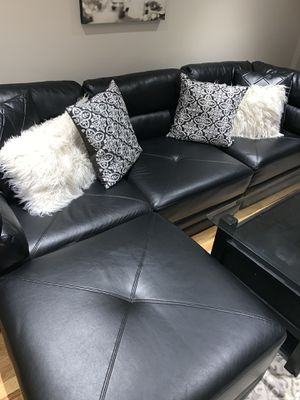 Black leather sectional couch for Sale in Boston, MA