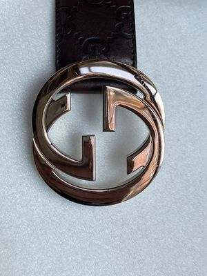 Authentic Gucci. Excellent condition. Silver buckle. Brown GG leather belt. Size 80. for Sale in Denver, CO