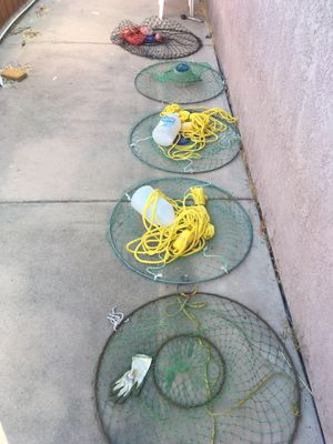 Lobster nets hoop net 5 pieces with gear for Sale in Santee, CA