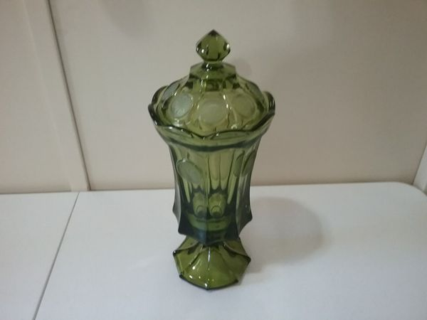 Fostoria green urn type glass