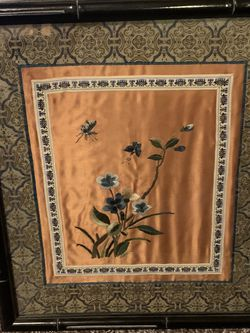 1980s Vintage Framed Silk Embroidery for Sale in Golden,  CO