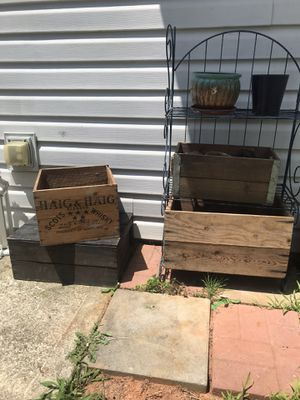 Plant stand and antique wooden boxes for Sale in Woodstock, GA
