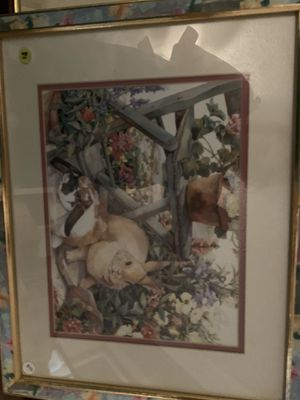 Rabbit picture in pastel frame seven dollars for Sale in Sandy, OR