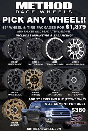 """18"""" Method Wheel & Tire Package with All Terrain Tires (Includes Mounting & Balancing) 4 Brand New Wheels/Tires. Fits Toyota Tundra/Sequoia for Sale in San Diego, CA"""