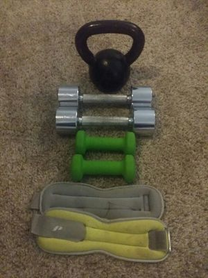 15lb iron kettlebell, pair of 8lb chrome dumbbells, pair of 2lb dumbbells and ankle/wrist weights. for Sale in Deerfield Beach, FL