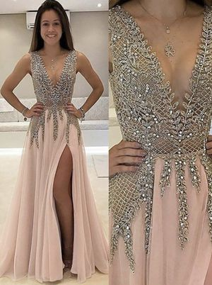 Light pink low neck sparkly prom dress for Sale in Pikesville, MD