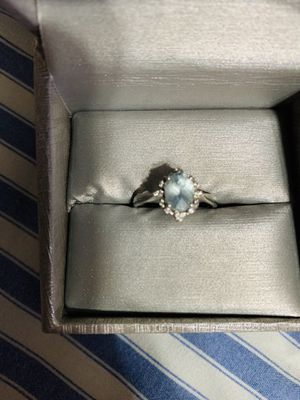 Oval Aquamarine size 7 ring silver Zales diamonds for Sale in Mooresville, NC