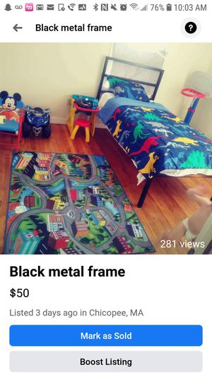 Black metal twin size for Sale in Chicopee, MA