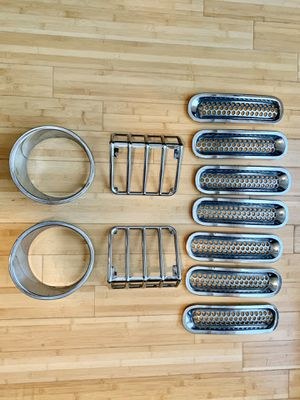 Jeep Wrangler Chrome Grill Inserts, Back Light Guards, Headlight Inserts for Sale in Austin, TX