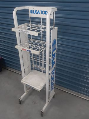 Project piece!! 3 Shelf USA Magazine Newspaper Stand on Wheels!! for Sale in Portsmouth, VA