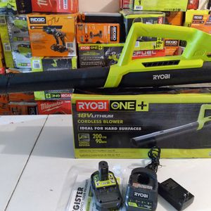 ONE+ 90 MPH 200 CFM 18-Volt Lithium-Ion Cordless Leaf Blower/Sweeper - 2.0 Ah Battery and Charger Included for Sale in Rialto, CA